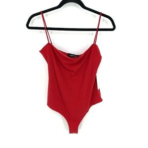 Reformation Crystal Bodysuit in Cherry NEW